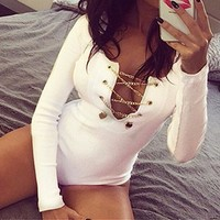 Fashion Zanzea 2016 Sexy Rompers Womens Jumpsuit Leotard Tops Bodysuit Lace Up Slim Playsuit Long Sleeve