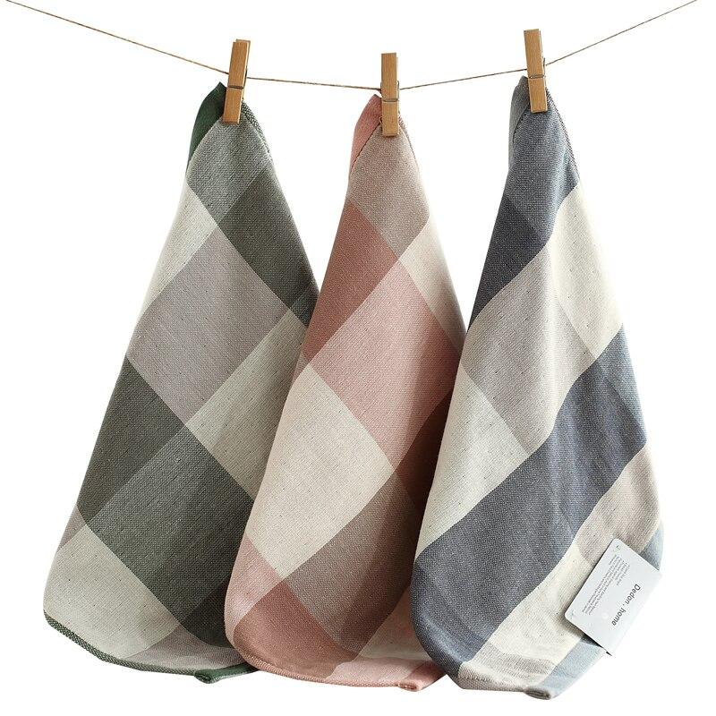 High Quality 100% Cotton Handkerchiefs Square Pocket Hanky Plaid Handkerchief Portable Towel 35x35cm AD0436