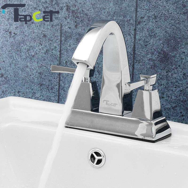 TAPCET Brass Bathroom Basin Faucet Dual handle Two Holes Bathroom Faucet Hot and Cold Water Deck Mounted Washbasin Mixer Tap two hole deck mounted hot and cold taps brass chrome surface sink basin faucet water tap for hotel bathroom