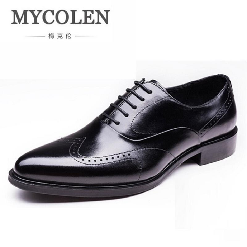 MYCOLEN Brand Designer Men Oxfords Shoes Genuine Leather Carved Classic Mens Formal Shoes Pointed Toe Lace Up Shoes Men qffaz new fashion mens formal dress shoes pointed toe genuine leather bullock oxfords shoes lace up designer luxury men shoes