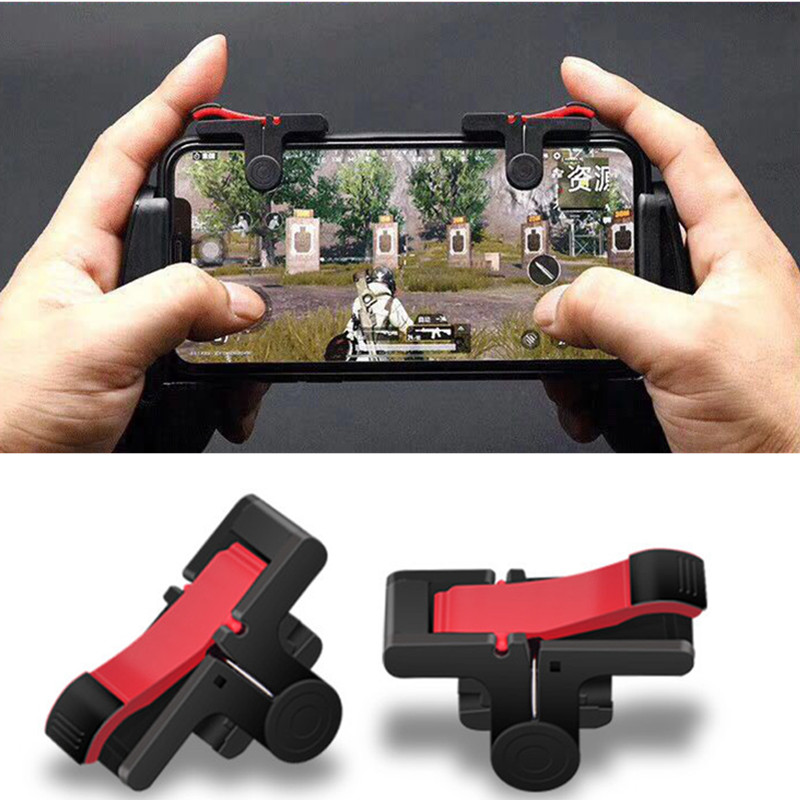 2Pcs PUBG Moible Controller Gamepad Free Fire L1 R1 Trigger PUGB Mobile keypads Grip L1R1 Joystick for iPhone Android Phone(China)