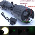 3 in 1 Flashlight Green and Red Laser 4 modes 2000 LM Zoomable Led Flashlights Torch Light Lantern +Charger