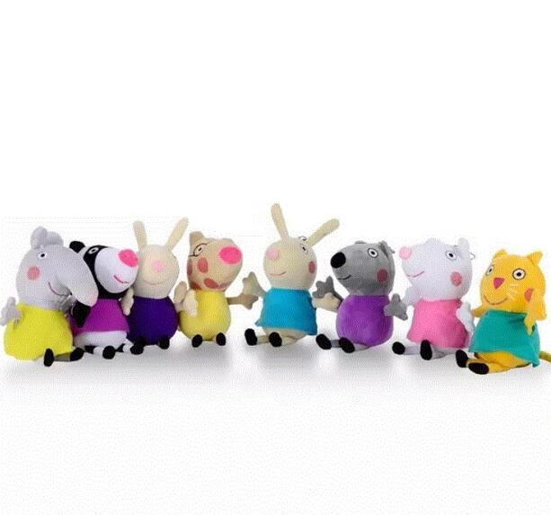 8 pz/set pink Pig Peluche George Famiglia Farcito Doll pig Amici Della Caramella Danny Pedro Emily Regalo Di Compleanno Per I Bambini