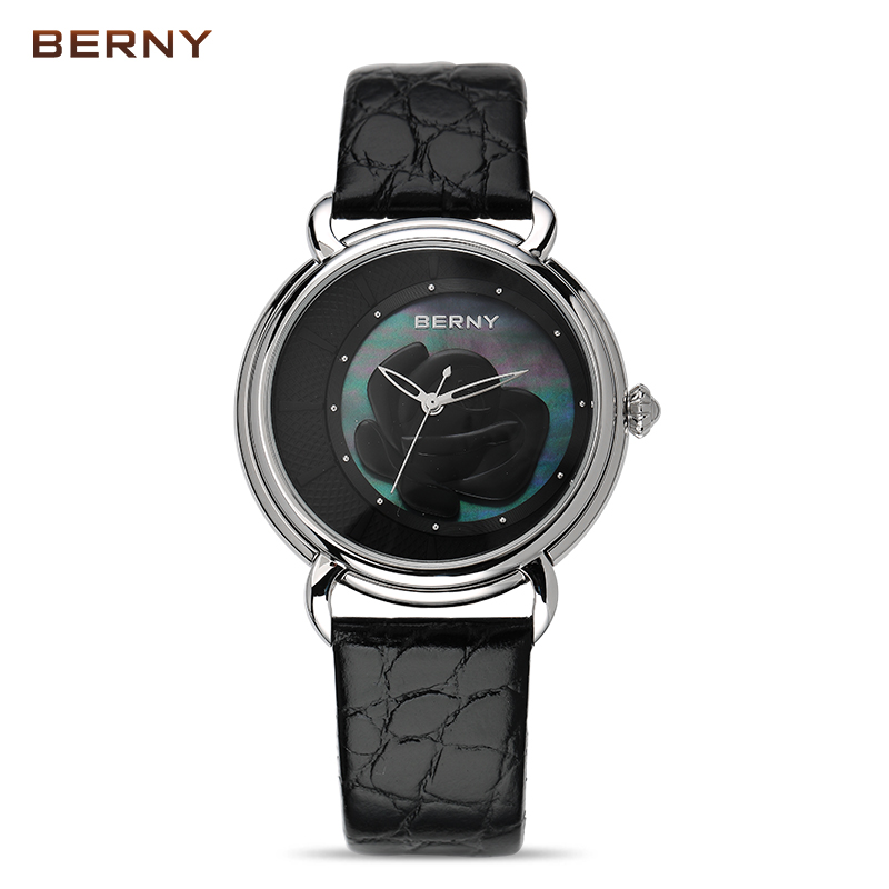 BERNY 2017 New Arrival Flower Ladies Watch the Best Luxury Brand Watch Women Dress Quartz Watches Clock Red Leather watch 2764L full red sandalwood women s bracelet watches bamboo creative quartz ladies watch wooden handmade dress clock 2018 new best gift