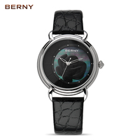 BERNY 2017 New Arrival Flower Ladies Watch the Best Luxury Brand Watch Women Dress Quartz Watches Clock Red Leather watch 2764L
