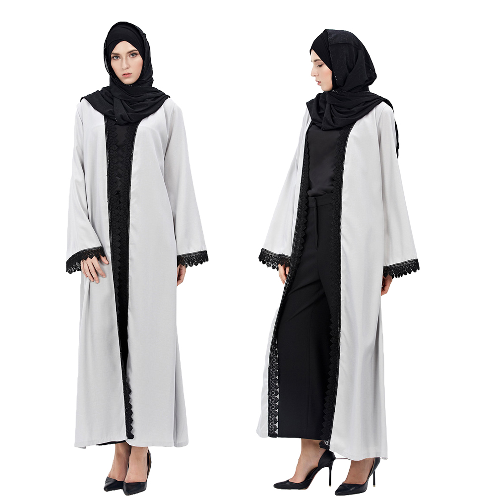 New Muslim Women Fashion Vintage Jilbab Cardigan Robe Amira Abaya Dress Hui Islamic Muslim Dress Gray Kaftan Clothes Middle East
