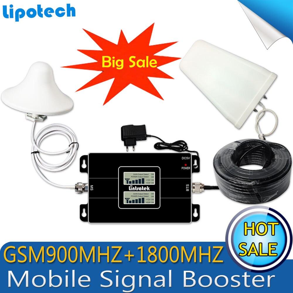 Lintratek 2017, двойной ЖК-дисплей, GSM 900 4G LTE 1800 репитер GSM 1800 МГц, Усилитель мобильного сигнала, 65 дБ, двухдиапазонный репитер, сотовый