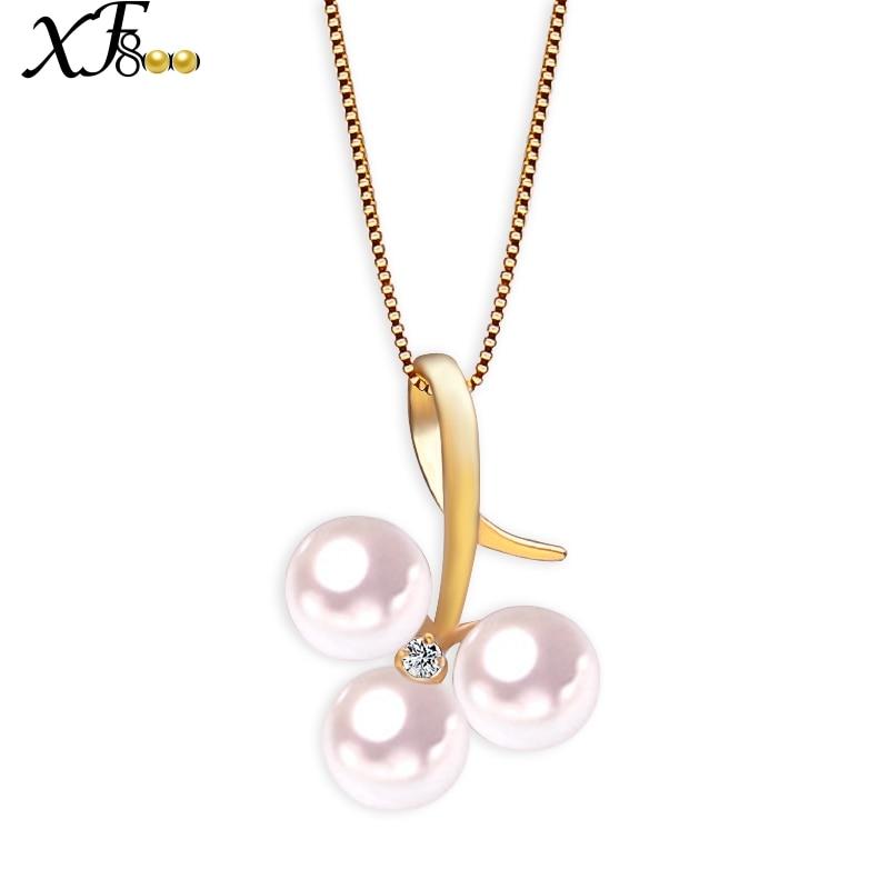 XF800 18K Gold Pearl Jewelry Natural AKOYA Pearl Necklace Pendant Fine 4.5-5MM Round Sea Water Wedding Birthday Gift XFD112 украшение на шею mikimoto 8 8 5mm akoya 18k