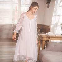 Lolita sleep dress Nightgown sleepwear Women White Long Pijamas ruffles stitching Princess Sleepwear dress nightdress wq1782
