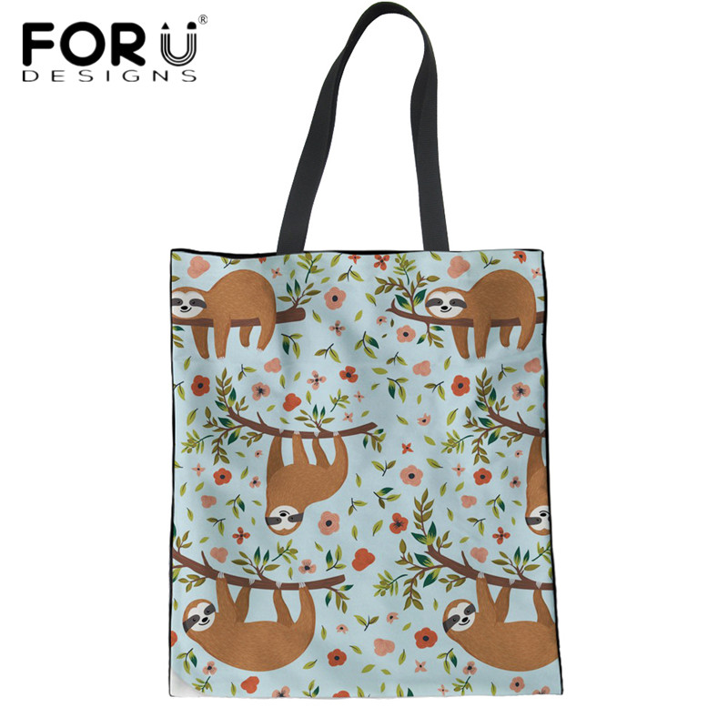 26bf4824d6f8 FORUDESIGNS Cute Floral Sloth Printing Eco-friendly Shopping Handbags Women  Large Linen Tote Bags Teen Girls Reusable Book Bags
