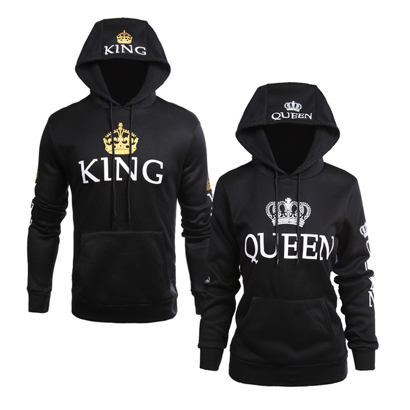 King Queen Printed Hooded Long Sleeved Couple Sweatshirts Autumn Winter Casual Long Sleeve Hoodie Pullovers Women