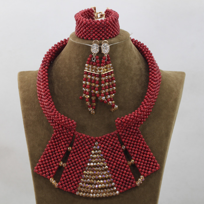Wine Red African Coral Women Jewelry Sets for Wedding Bib Statement Necklace Set Champagne Gold Jewelry Free ShippingABH085