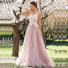 Pink Wedding dress 2019 Lace Appliques A-Line Tulle Princess bridal Gown Boho Beach Wedding Gown Vestido De Noiva