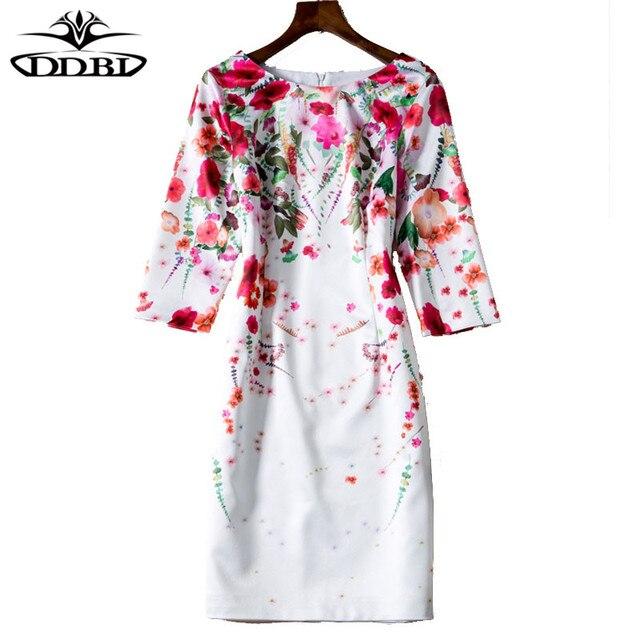 Rouge fleurs imprimer robe 2018 printemps nouveau mode d'arrivée robes  haute qualité femmes porter