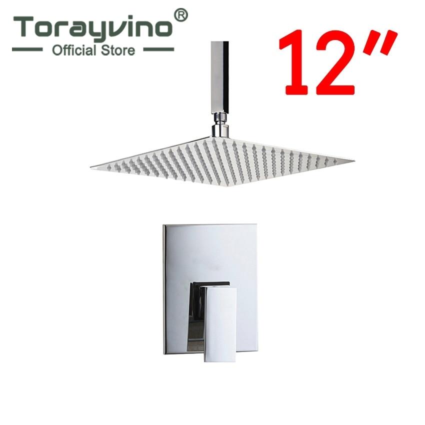 Torayvino Bath Top Ceiling Mount 12 Ultra-thin Rainfall Shower Head Control Valve Wall Mounted Hot&Cold Water Mixer Shower Set