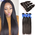 7A  Straight Weave Brazilian Hair With Closure 3 Bundles Rosa Hair Products Mink Brazilian Straight Hair With Closure