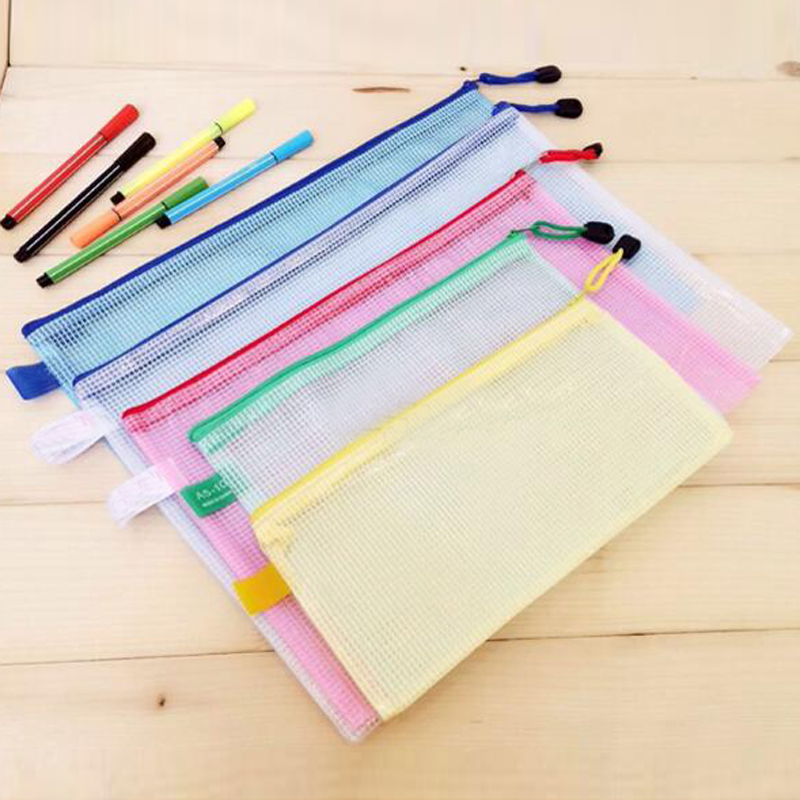 10 Pcs/lot Gridding Waterproof Zip Bag Document Pen Filing Products Pocket Folder Free Shipping Office & School Supplies