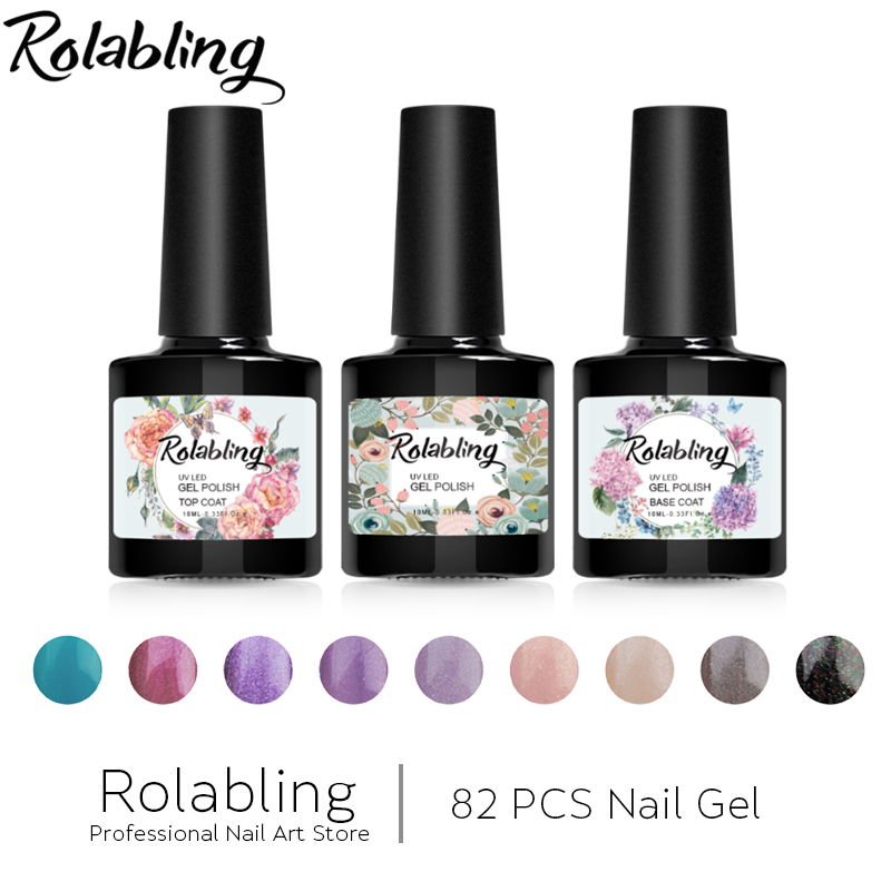 Rolabling 82PCS/SET UV Gel Polish Gel Nail Polish Soak off Top Base Coat LED UV Gel Lacquer 10ml Gel Varnishes Rhinestones Glue