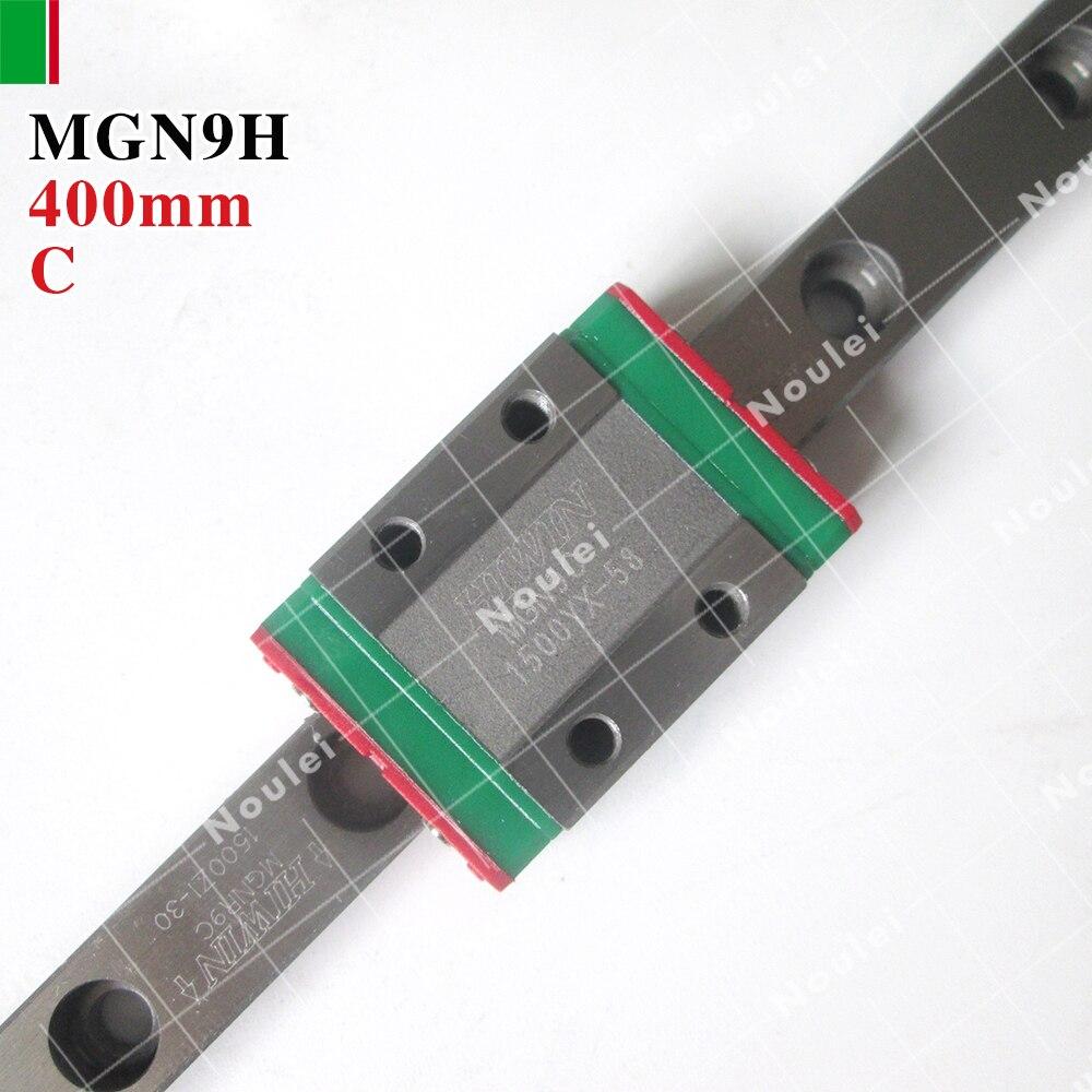 HIWIN CNC Guide Rail Set, Stainless Steel MGN9 400mm mini Linear Slide Rail + Blocks MGN9H tbi cnc sets tbimotion tr20n 600mm linear guide rail with trh20fl slide blocks stainless steel high efficiency