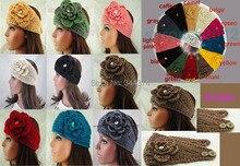 Дамы вручную вязка крючком вязание шерсть зима тёплый уха повязка на голову 12 цветов 20 шт. / много