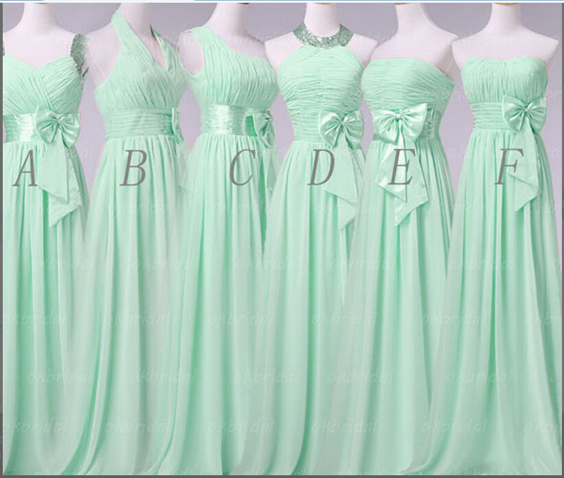 Aliexpress 2017 Hot Summer Mint Green Long Bow Bridesmaid Satin Sasheds Chiffon Wedding Party Dress Pleated Plus Size From