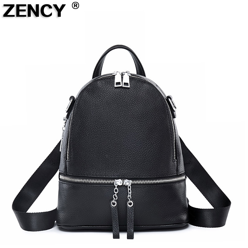 2019 Smart Silver Hardware 100% Genuine Cow Leather White Women's Backpacks First Layer Cowhide Summer Backpack Young Girls Bag