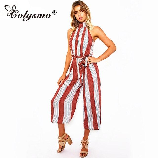 7d0a4101fbcb Colysmo Wine Red Stripe Wide Leg Jumpsuit 2017 New Summer Halter Capri  Romper