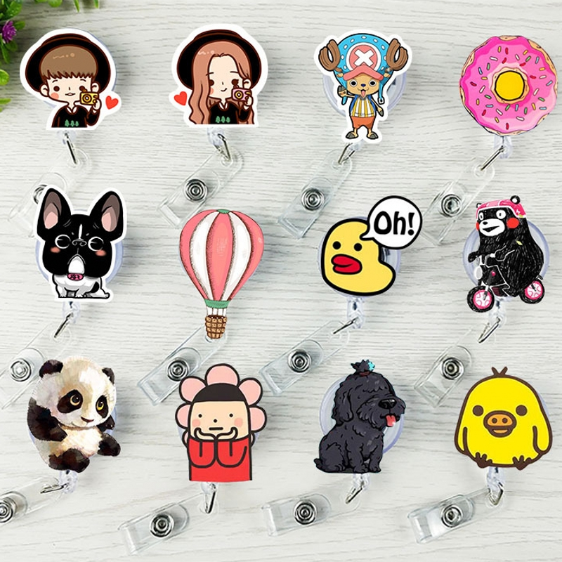 1Pcs Cartoon Bear Balloon Panda Dog Retractable Badge Reel Student Nurse ID Name Card Badge Holder Stationery Supplies