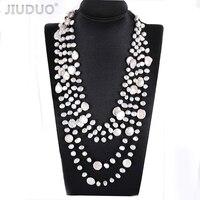 Модный для женщин ожерелья Популярные multi веревку цепи чистый натуральный пресноводный жемчуг ожерелье Пром обручальное повод