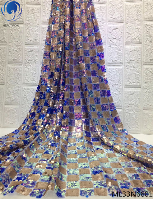 BEAUTIFICAL Sequins net lace fabric for wedding lace african sequins tulle lace fabric 2019 latest lace fabric 5yards ML33N66