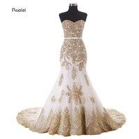זהב התחרה Applique Bow חגורת מתוקה בת ים שמלות הערב ארוכות רשמיות מסיבת נשף טאטא רכבת לחתונה