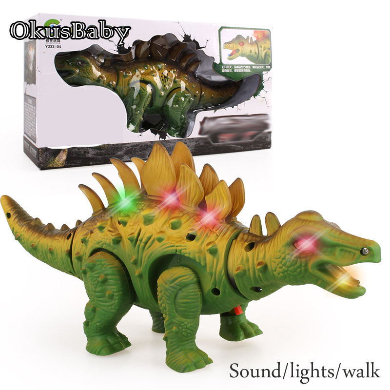 Electric Children's Simulation Sound And Lights Walking Dinosaur Swing Head Tail Toys Model For Kids Christmas Gift