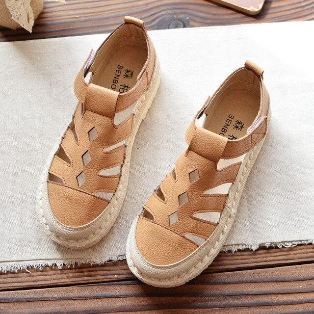 3f7e964f7ab04 2018 new Baotou Hong Kong sandals female simple flat chic shoes summer  retro student shoes beach