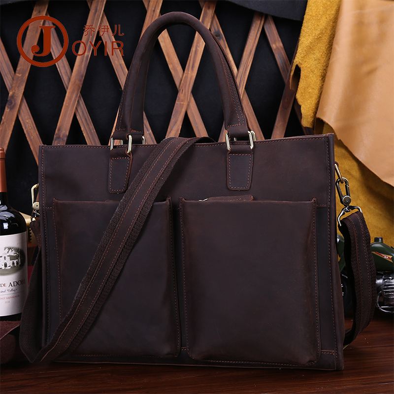 "Vintage Crazy Horse Leather Men Handbag Casual 14"" Laptop Bag Genuine Leather Briefcases"