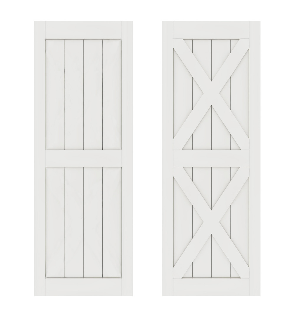 DIYHD Double X Shape White Door Panel MDF Solid Core Primed Interior Wood Door Sliding Barn Door Panel