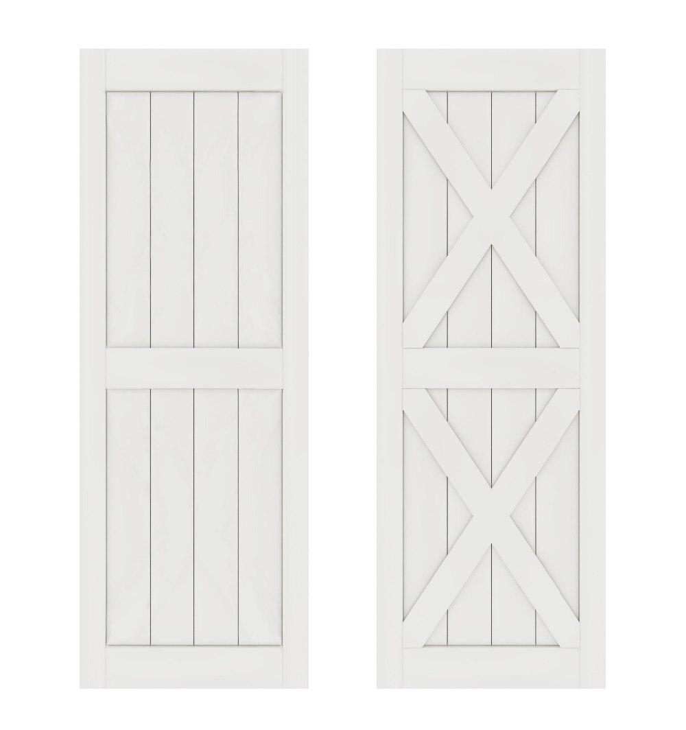 DIYHD Double X forme blanc grange porte dalle MDF solide noyau apprêté intérieur panneau de porte (démonté)
