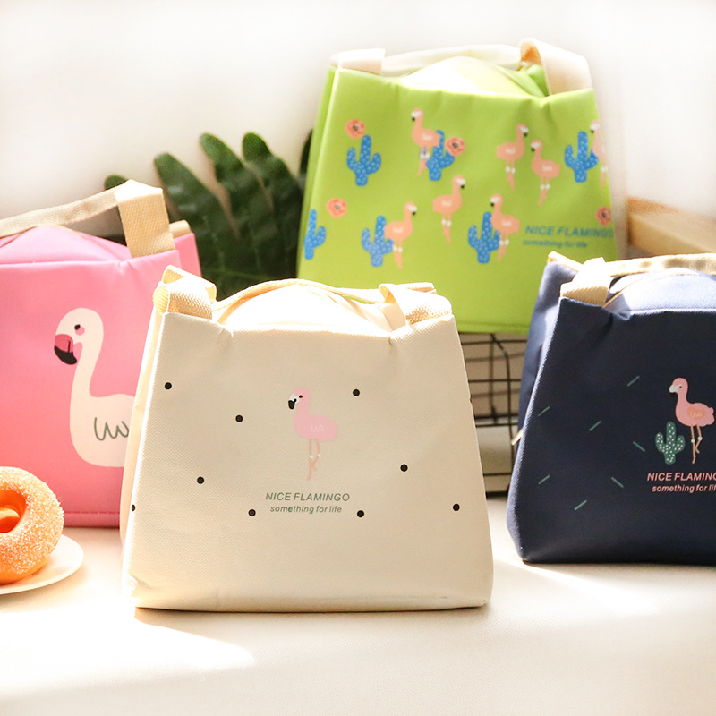 PACGOTH Creative Warm Keeper Lunch Bags Big Storage Korean Style Cartoon Animal Prints Flamingo Pattern Portable Lunch Tote 1 PC pacgoth japanese and korean style pu leather coin purse casual animal prints cute cats hot lip pattern zipper cash pouch 1 piece