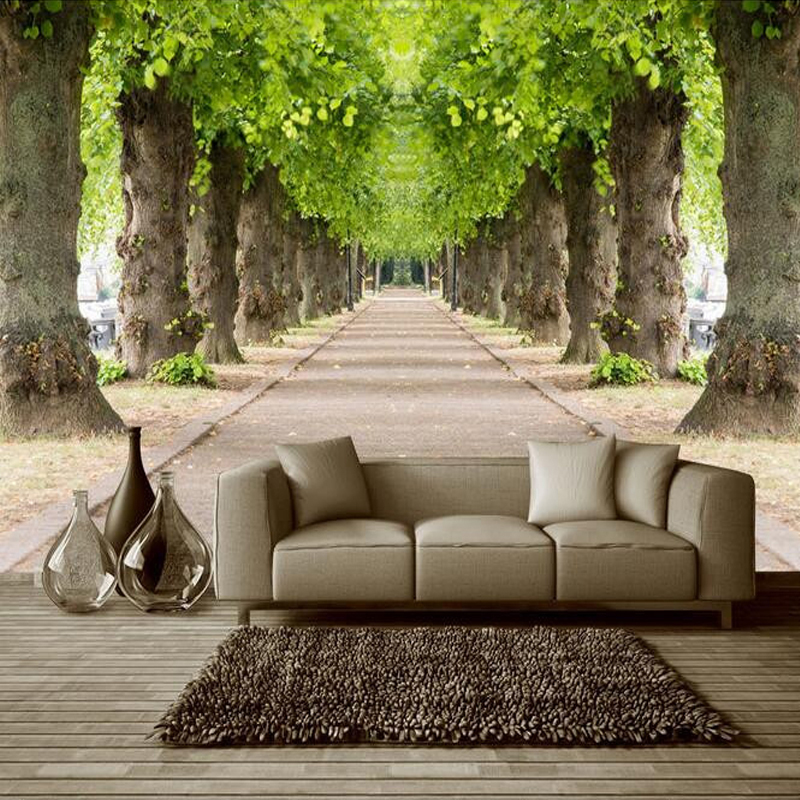 3D Nature Landscape Forest Road Photo Mural Customized Size Non-woven 3D Straw Wallpaper For Wall TV Sofa Background Wall Decor