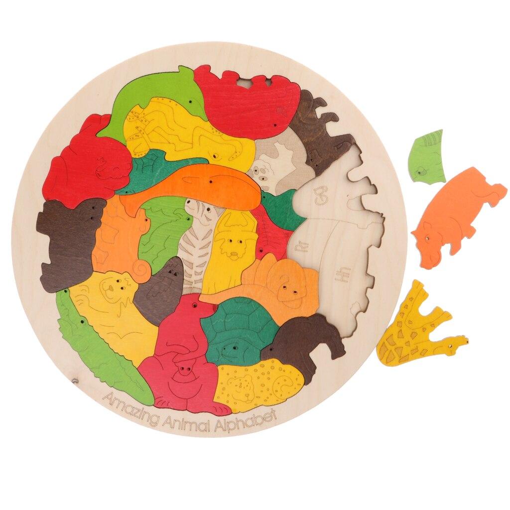 Puzzle animaux en bois avec lettres correspondantes, jouet de développement pour enfants, facile à saisir