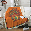 BeddingOutlet Hippie Vintage Car Velvet Plush Throw Blanket Orange Mandala Sherpa Blanket for Couch Bohemian Mini Van Thin Quilt