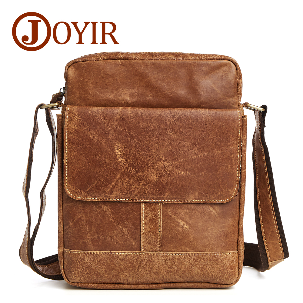 JOYIR 2017 New 100% genuine leather crossbody bag small men bags first layer cow leather men's messenger bag shoulder bags 8708 bag female new genuine leather handbags first layer of leather shoulder bag korean zipper small square bag mobile messenger bags