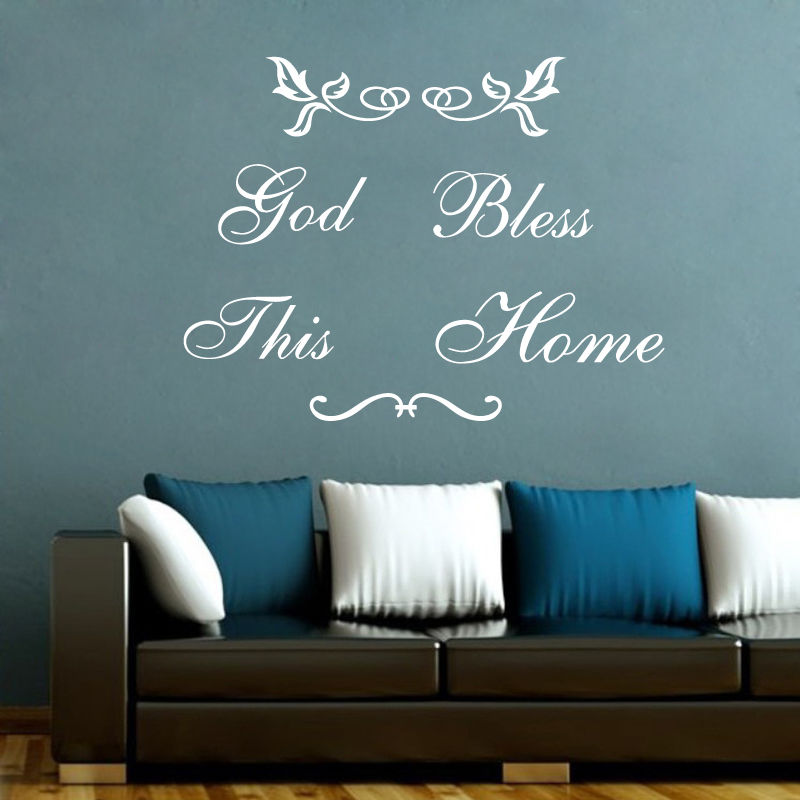God Bless This Home Wall Sticker Home Decor Decals Black Vinyl Art ...