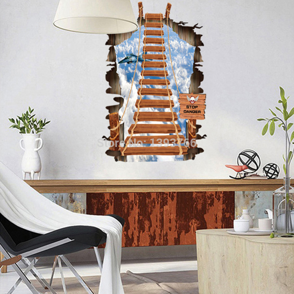 US $8.24 |Stair to the sky 3d wall stickers Mural children\'s bedroom  wallpaper wall Decal for kids room Home Decor-in Wall Stickers from Home &  Garden ...