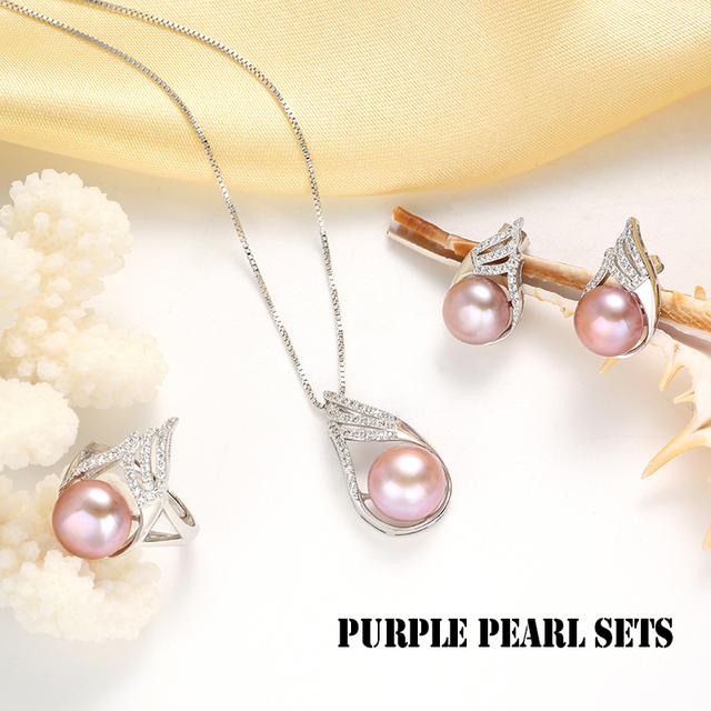 925 Sterling Silver Jewelry Set Necklace, Earrings and Ring with Natural Freshwater Pearls