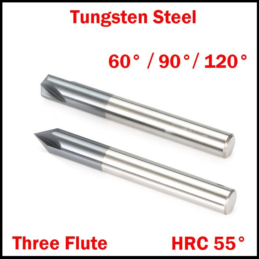 1 stück 3mm 4mm 5mm 6mm 60 90 120 Grad Wolfram Hartmetall HRC55 3 Flöte router Bit Fase Ende Mühle Anfasen Fräser