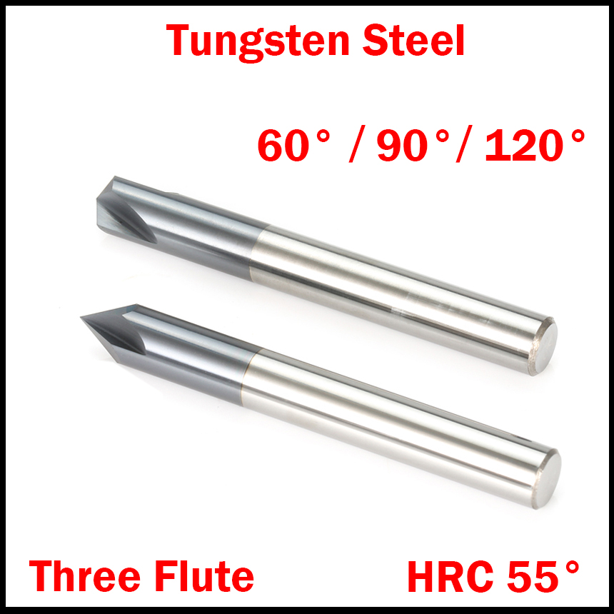 1Pc 3mm 4mm 5mm 6mm 60 90 120 Degree Tungsten Solid Carbide HRC55 3 Flute Router Bit Chamfer End Mill Chamfering Milling Cutter free shipping hss 4241 dia 12 4mm 90 degree steel 3 flutes chamfer chamfering drill bits end milling wood metal hole cutter