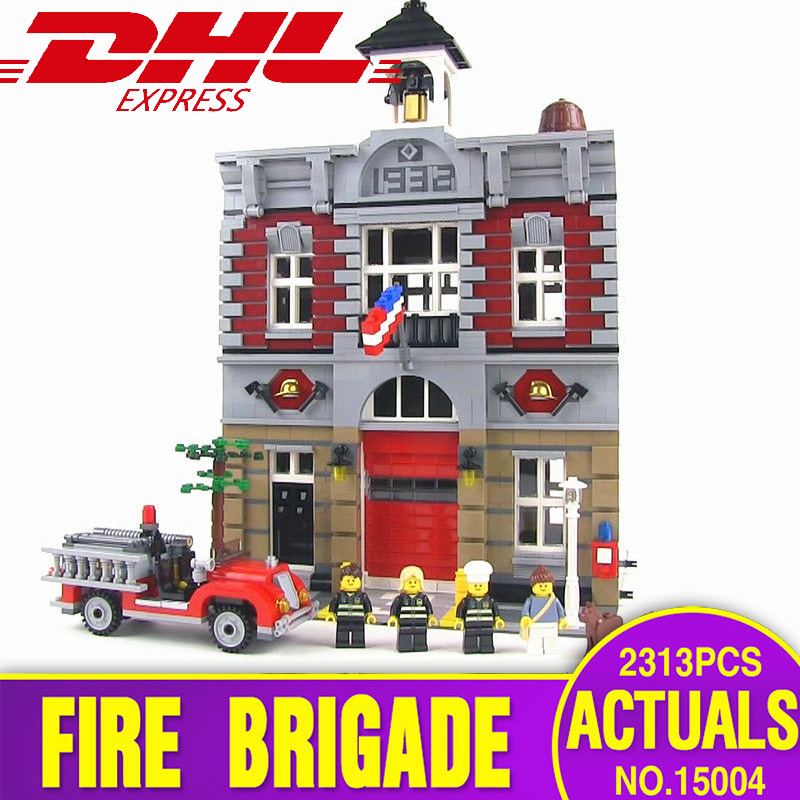 DHL City Street 15004 Fire Brigade Model Building Kits Blocks Bricks Compatible with 10197 Toys for children gift