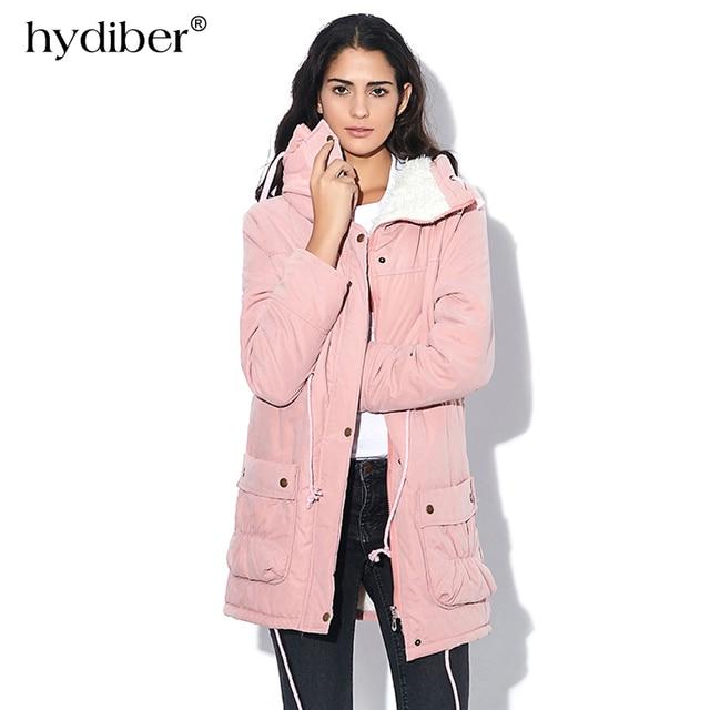 HYDIBER Neue 2017 Wintermantel Frauen Schlank Plus Size Outwear Mittel Lange Wadded Dicken Kapuze Baumwollvlies Warm baumwolle Parka