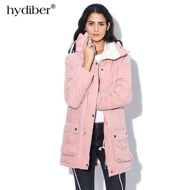 HYDIBER Novo 2017 Casaco de Inverno Mulheres de Slim Plus Size Outwear Médio-Longo Wadded Jaqueta Grossa Jaqueta de Algodão Com Capuz de Lã Quente Parka de algodão