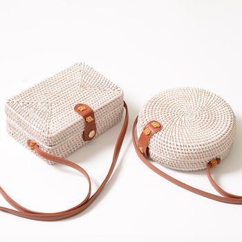 Rattan woven square bag ins bag wrap round package, Department of classical art, handmade White Mini woven bag PU shoulder strap reflection